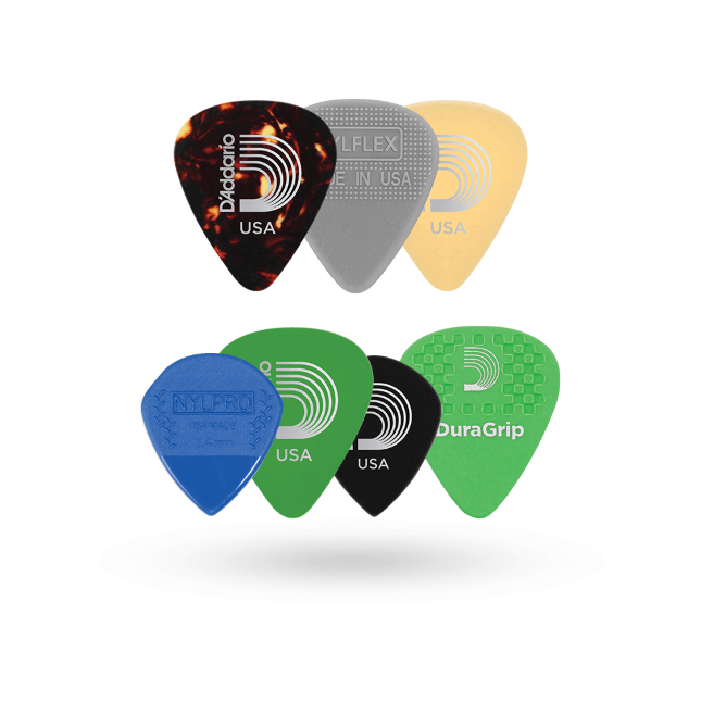 D'Addario Assorted Gitaar Plectrums, 7-pack, Medium MIX